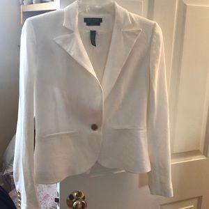 Lauren Ralph Lauren white 100% linen blazer